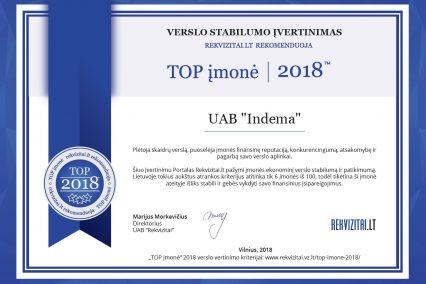 INDEMA_TOP įmonė 2018